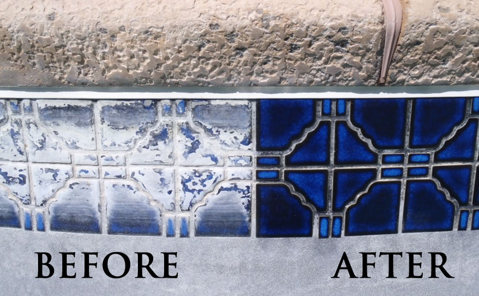 Pool Tile Cleaning Before and After